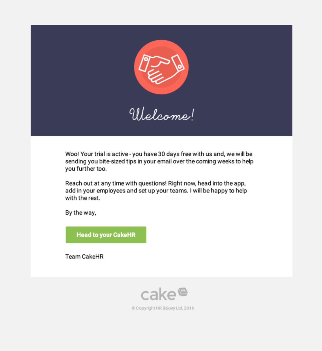 Image of welcome email